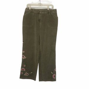 J. Jill Green Corduroy Floral Embroidered Pants